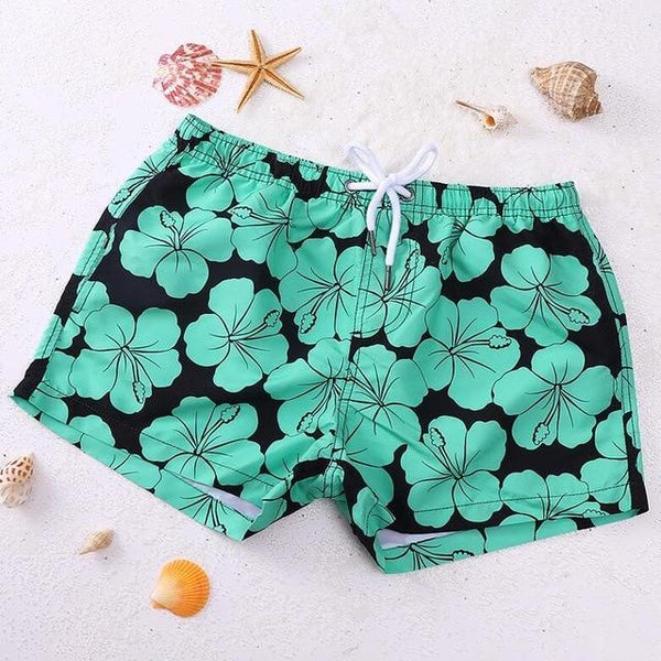 Blue Green Flowery Swim Trunk