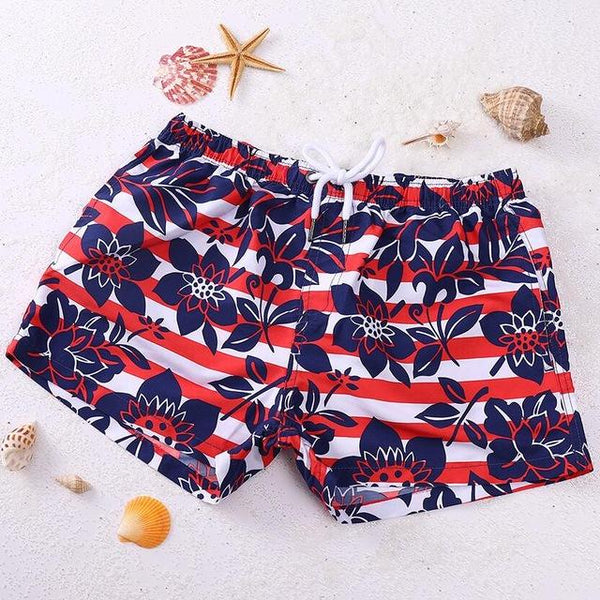 Red Flowery Swim Trunk