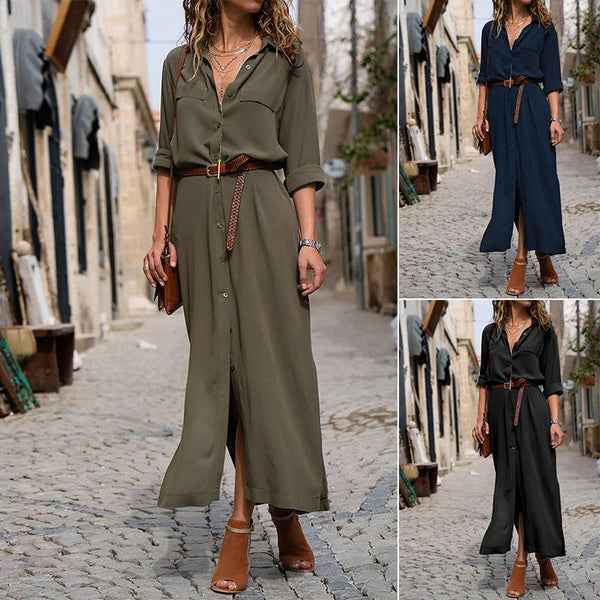 Button Through Maxi Dress