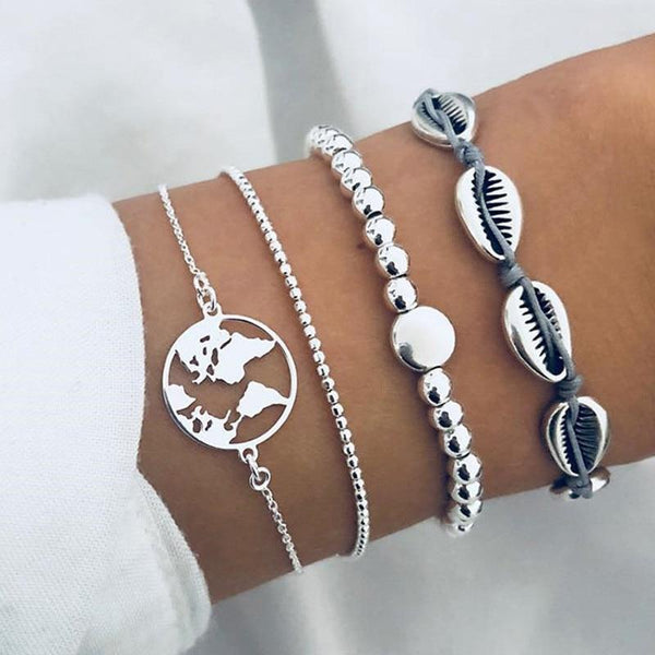 Bead and Shell Charm Bracelet Set