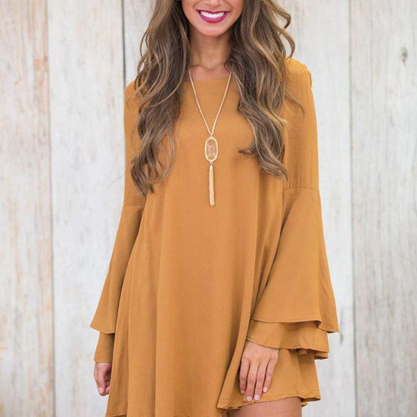 Flare Sleeve Mini Dress