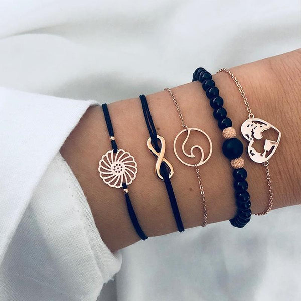 Hollow Flower Bracelet Set