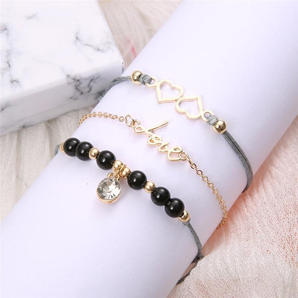 Double Heart Bracelet Set