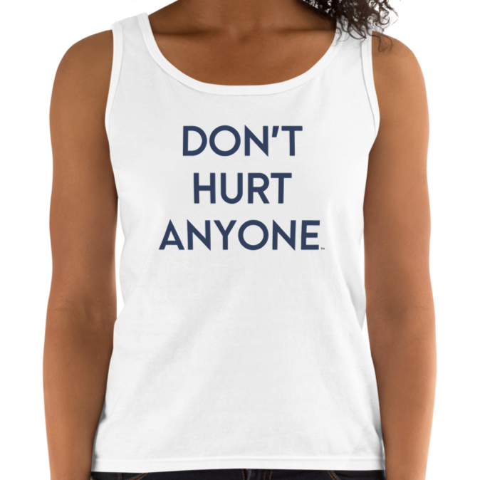 DHA Women's Cotton Premium Tank Top - Blue Logo