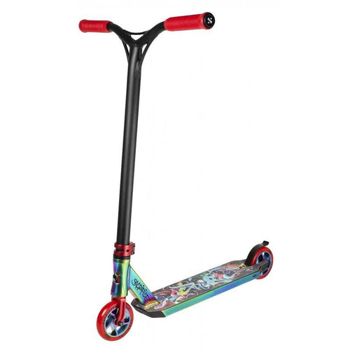 SACRIFICE SCOOTERS FLYTE 115 COMPLETE STUNT SCOOTER, NEOCHROME RED GRAFFITI