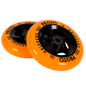 Proto Gripper Day-Glo 110mm - Neon Orange Scooter Wheels PAIR