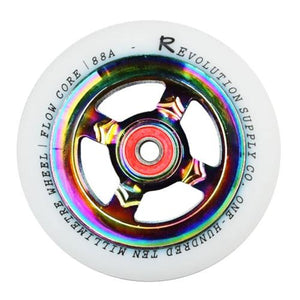 Revolution Flow Spoked Wheel - White on Neochrome 110mm