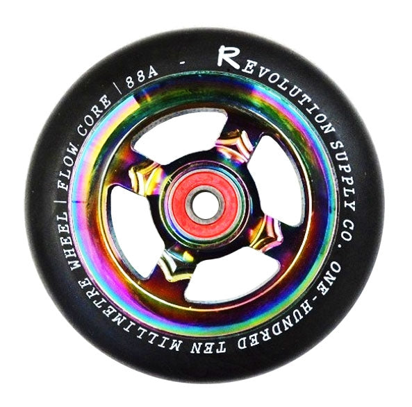 Revolution Flow Spoked Wheel - Black on Neochrome 110mm
