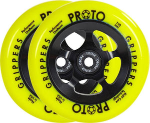 Proto Gripper Day-Glo 110mm - Neon Yellow Scooter Wheels PAIR