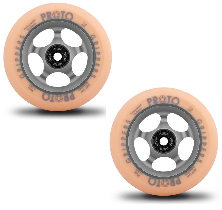 PROTO Faded Grippers Pastel Orange on Ghost Grey 110mm Pair