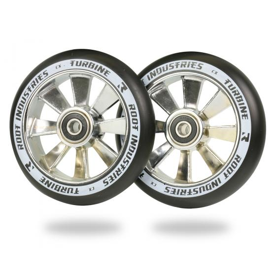 Root Ind. Turbine Scooter Wheels Pair Black/Mirror 110mm