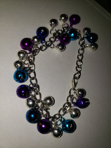 Blue,purple,silver Bell On Bracelet