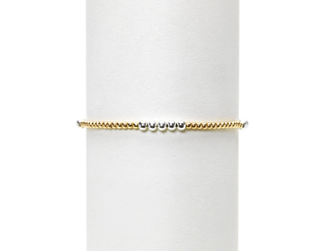 2mm Yellow Gold w/3mm Sterling Silver Bracelet