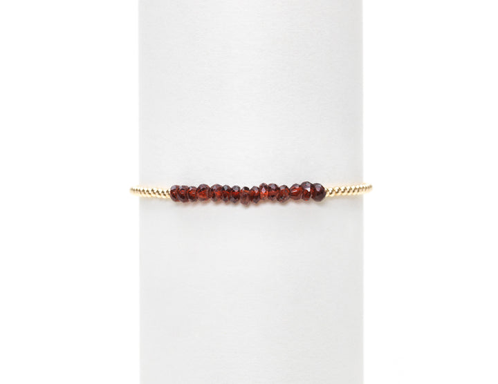 2mm Yellow Gold w/Garnet Bracelet