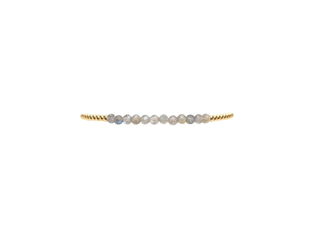 2mm yellow gold w/Labradorite bracelet