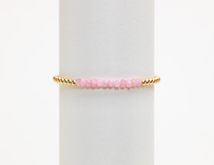 3mm Yellow gold w/Pink Agate bracelet