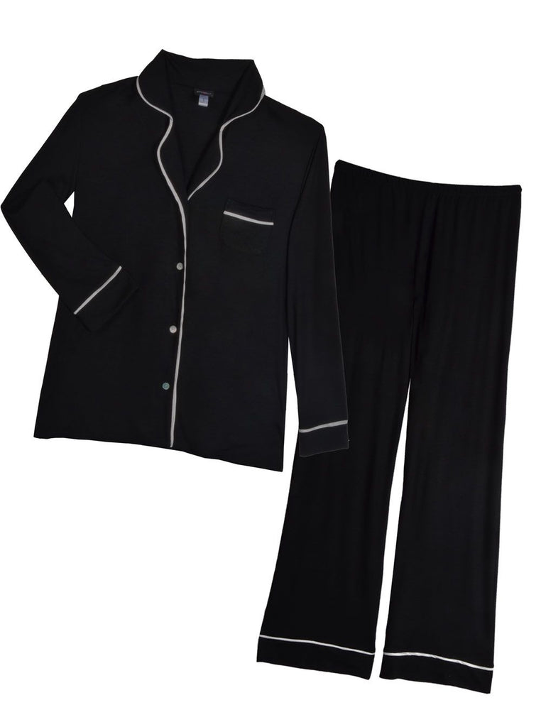 LS TOP & PANT PJ SET (Black/Ivory)