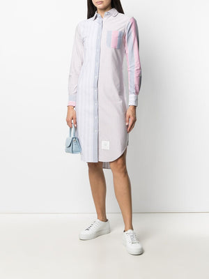THOM BROWNE WOMEN CLASSIC LONG SLEEVE W/ ROUND COLLAR SHIRTDRESS FUNMIX IN AWNING STRIPE OXFORD