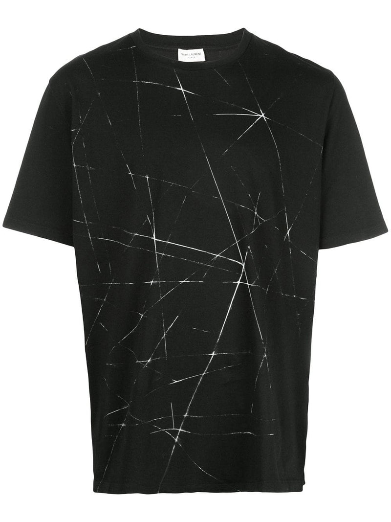 SAINT LAURENT MEN ABSTRACT PRINTED T-SHIRT