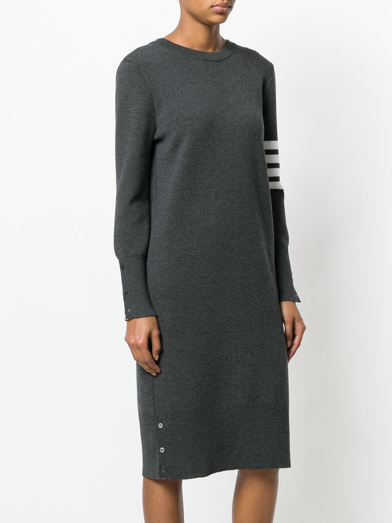 THOM BROWNE WOMEN BACK TO FRONT MILANO V NECK CARDIGAN DRESS WITH 4 BAR STRIPE IN FINE MERINO WOOL