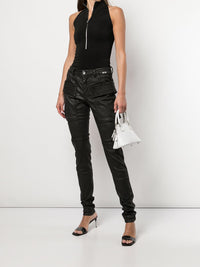 RICK OWENS DRKSHDW WOMEN EASY CREATCH CUT WAXED DENIM JEANS