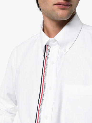 THOM BROWNE MEN ZIP FRONT BUTTON DOWN LONG SLEEVE SHIRT IN SOLID OXFORD