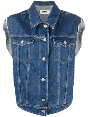 MM6 WOMEN ROUND DENIM VEST