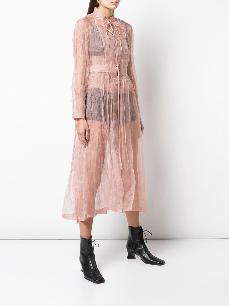 RENLI SU WOMEN SHEER DRESS WITH BUTTONS ON FRONT