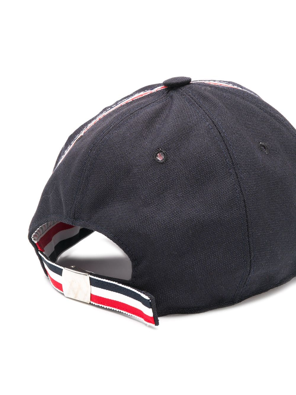 THOM BROWNE MEN BASEBALL CAP W/ OVERLAPPED RWB SELVEDGE PLACEMENT IN 3 PLY WOOL MOHAIR