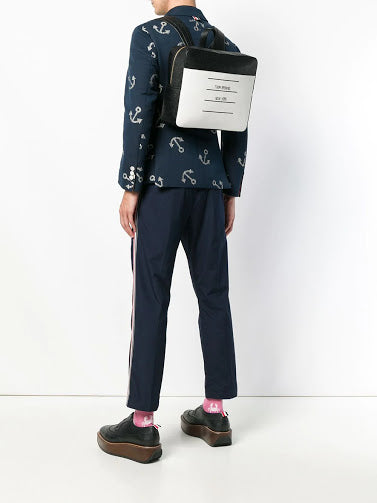 THOM BROWNE ZIP TOP BOOK BAG IN TBNY PAPER LABEL PRINTED PEBBLE GRAIN