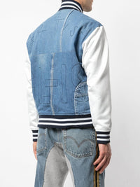GREG LAUREN MEN DENIM IVORY SATIN VARSITY JACKET