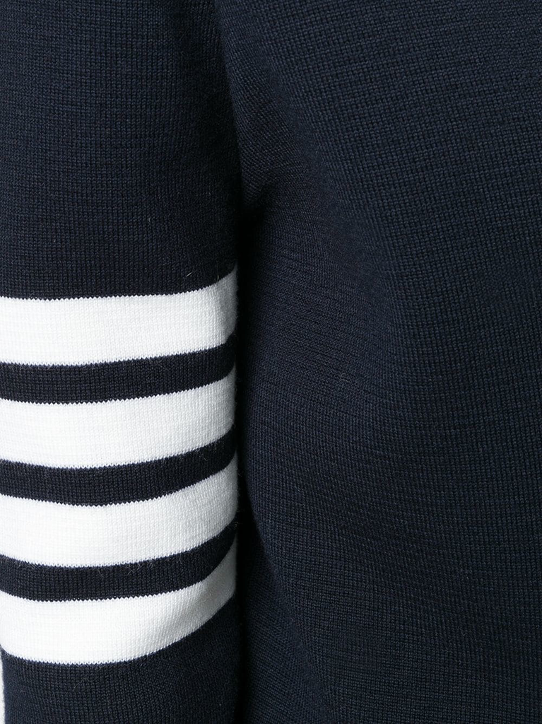THOM BROWNE WOMEN BACK TO FRONT MILANO V NECK CARDIGAN DRESS WTH 4 BAR STRIPE IN FINE MERINO WOOL