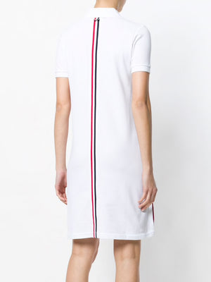 THOM BROWNE SHORT SLEEVE ABOVE KNEE POLO DRESS W/ CB RWB STRIPE IN CLASSIC PIQUE
