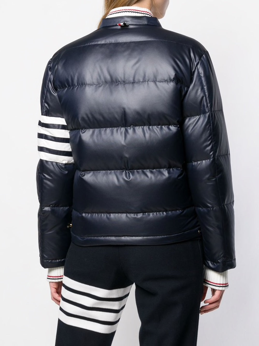 THOM BROWNE WOMEN 4 BAR DOWNFILLED SNAP FRONT DETACHABLE HOOD BOMBER IN MINI RIPSTOP