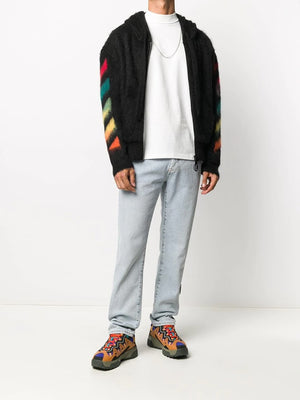 OFF-WHITE MEN DIAG BRUSHED MOHAIR ZIP HOODI