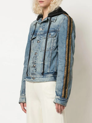 GREG LAUREN WOMEN DENIM ROYAL HOODED TRUCKER