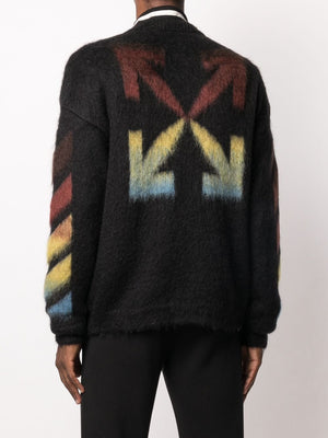 OFF-WHITE MEN DIAG BRUSHED MOHAIR CREWNECK SWEATER