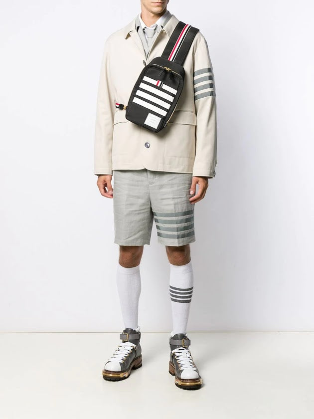 THOM BROWNE MEN BUM BAG CROSSBODY W/ CONTRAST 4 BAR STRIPE IN NYLON W/ JERSEY BACKING