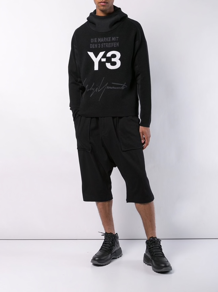 Y-3 UNISEX STACKED HOOD KNIT TOP