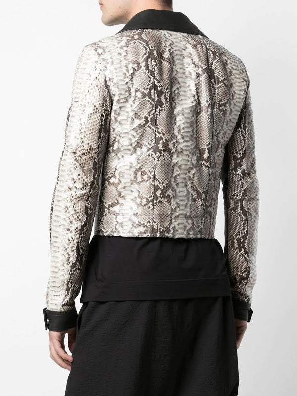 RICK OWENS MEN PYTHON LEATHER DRACUBIKER JACKET