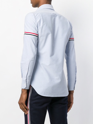 THOM BROWNE MEN ELASTIC STRIPE SEAMED CLASSIC POINT COLLAR BUTTON DOWN LONG SLEEVE SHIRT IN OXFORD