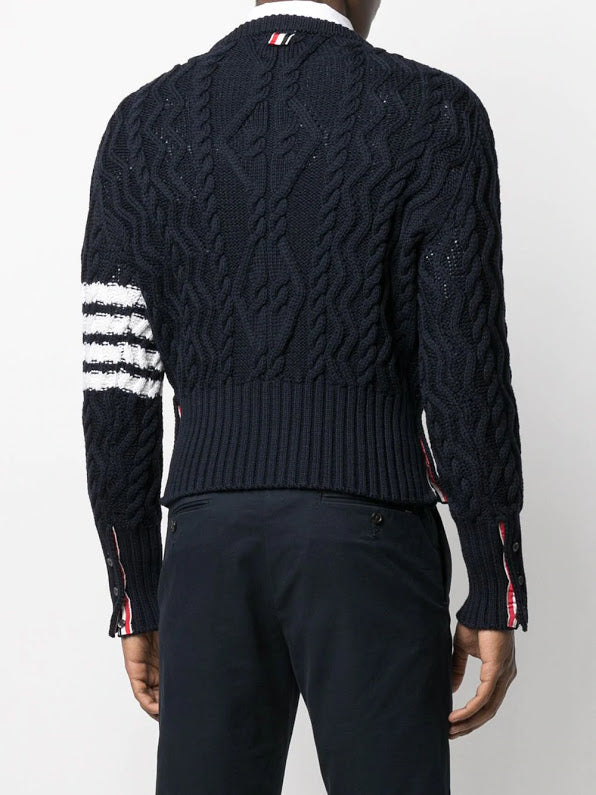 THOM BROWNE MEN CLASSIC ARAN CABLE CREW NECK PULLOVER W/ 4 BAR SLEEVE IN FINE MERINO WOOL
