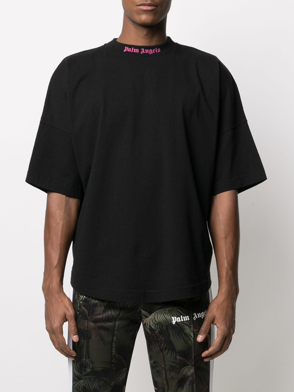 PALM ANGELS MEN DOUBLED LOGO OVER TEE