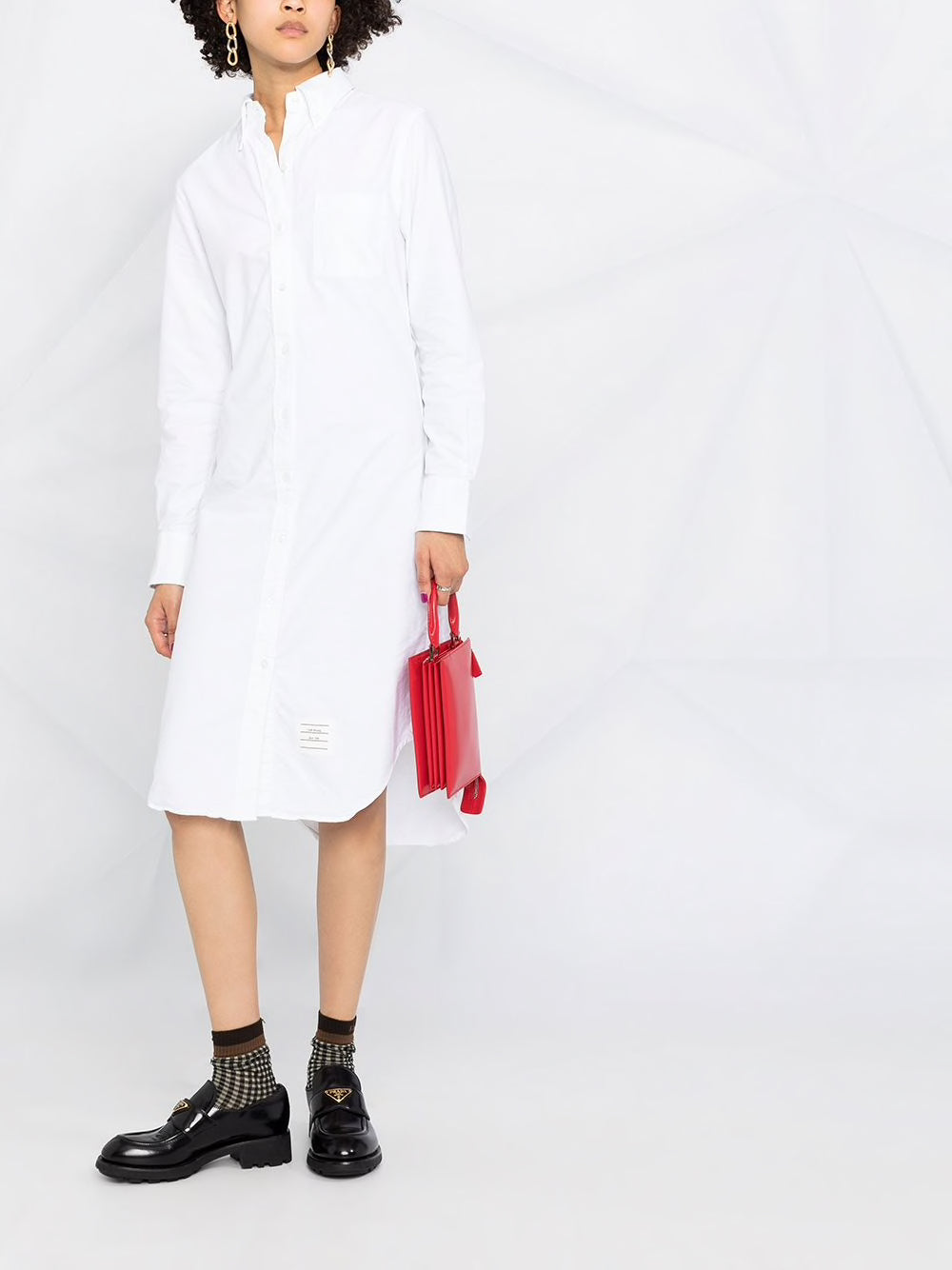 THOM BROWNE WOMEN KNEE LENGTH LONG SLEEVE POINT COLLAR SHIRTDRESS IN OXFORD WITH GG LOOP