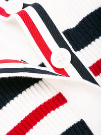 THOM BROWNE WOMEN CLASSIC V NECK CARDIGAN W/ 4 BAR STRIPE AND CRICKET STRIPE IN CASHMERE
