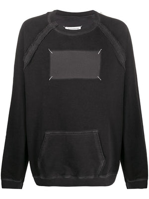 MAISON MARGIELA MEN OVERSIZED STITCHED TAG SWEATSHIRT WITH KANGAROO POCKET
