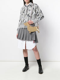THOM BROWNE WOMEN DROPPED BACK MINI PLEATED SKIRT IN SHADOW STRIPE WOOL FLANNEL