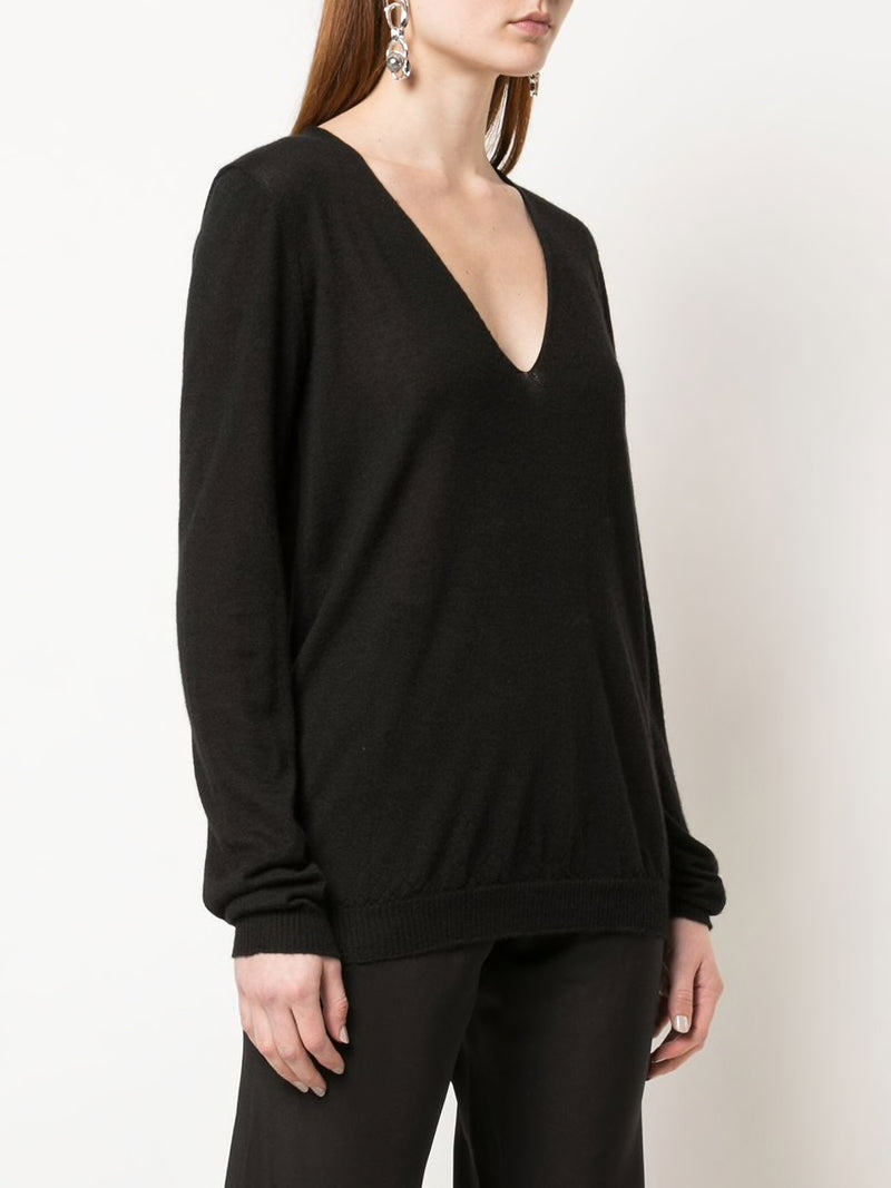 RICK OWENS WOMEN SOFT V NECK SWEATER
