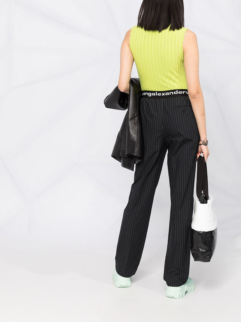 T BY ALEXANDER WANG WOMEN PULL-ON PLEATED PANTS WITH LOGO ELASTIC WAISTBAND