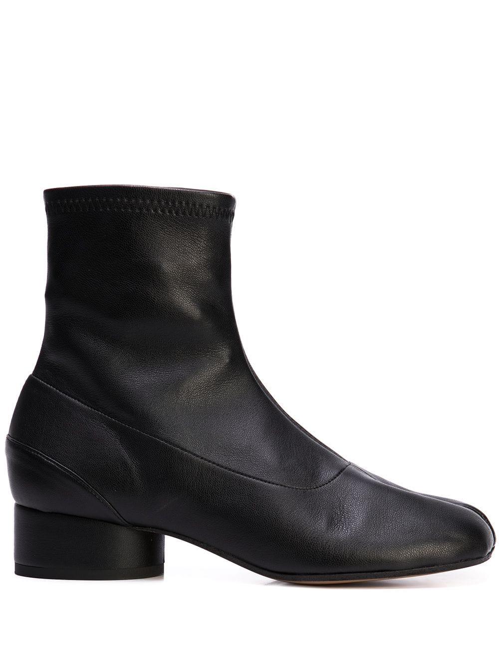 MAISON MARGIELA WOMEN STRETCH LEATHER TABI BOOTS LOW HEEL
